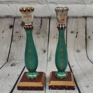 VINTAGE WOOD HAND PAINTS KING & QUEEN TAPER CAN